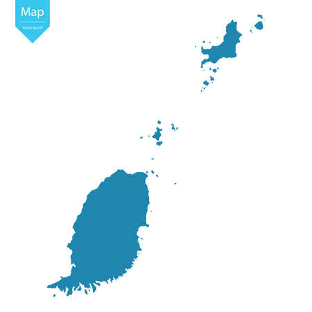 Abstract - High Detailed blue Map of Grenada isolated on white background. for your web site design map logo, app, ui, Travel vector illustration eps10.