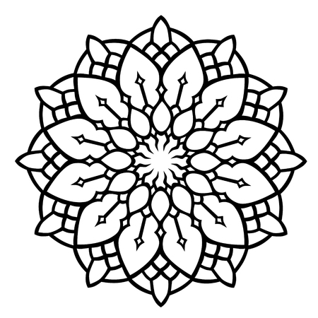 Black floral pattern on white background