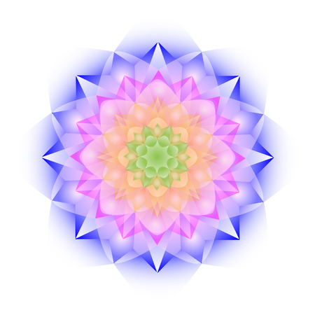 Color crystal mandala on white background 矢量图像