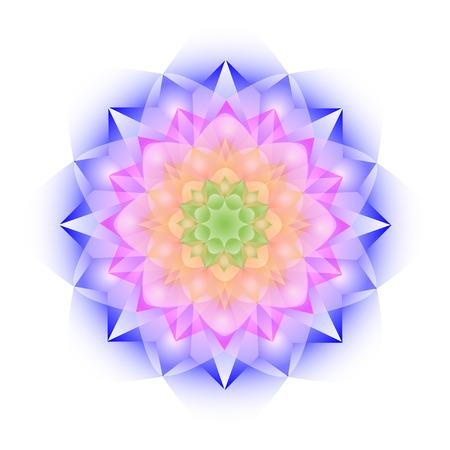 Mandala de cristal de color sobre fondo blanco. Ilustración de vector
