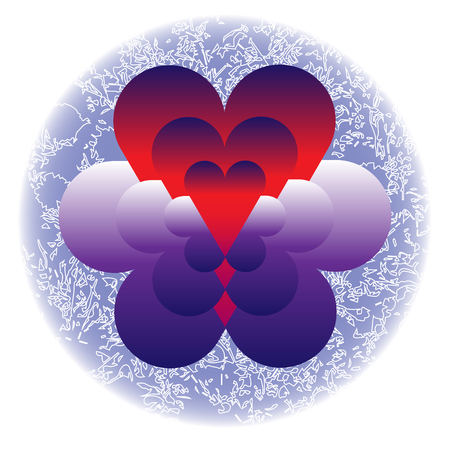 Hearts in clouds in blue frozen circle on white background