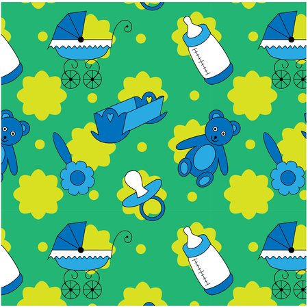 Baby seamless pattern for little boys with toys on green background Ilustração