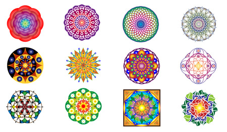 Set of 12 ornamental original mandalas on white background
