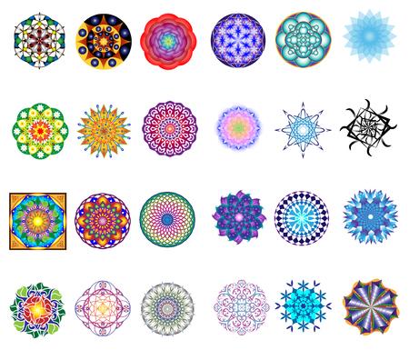 Conjunto de 24 mandalas originales de adorno de estilo