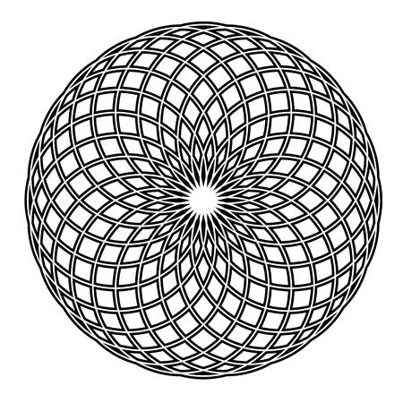Simple black and white circle vector mandala Ilustração Vetorial