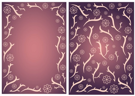Pink and violet floral vector card, brochure background