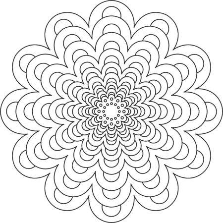 Black line mandala pattern on white background Vektoros illusztráció