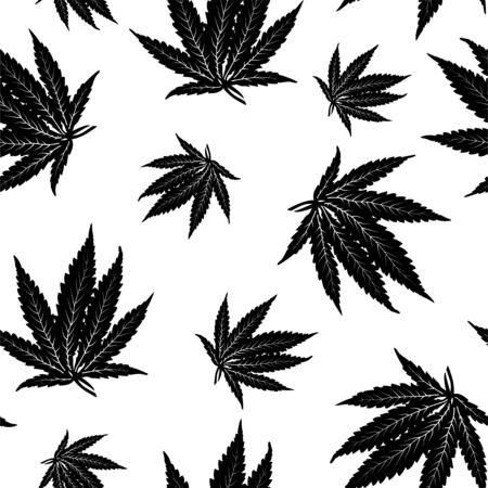 Vector black cannabis leaf seamless pattern