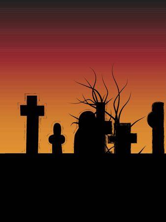 Vector cemetery halloween silhouette background Ilustração Vetorial