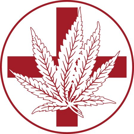 Vector red medical cannabis with cross