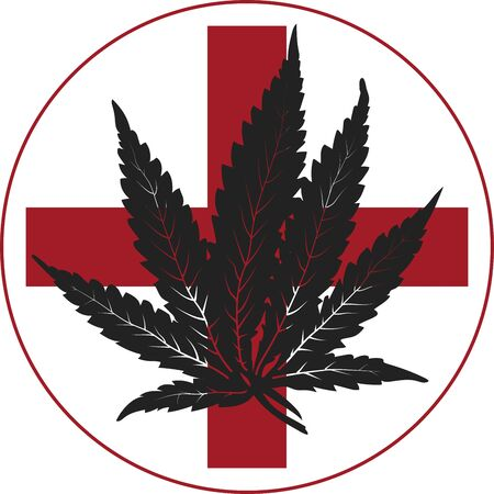 Vector black medical cannabis with red cross Illustration
