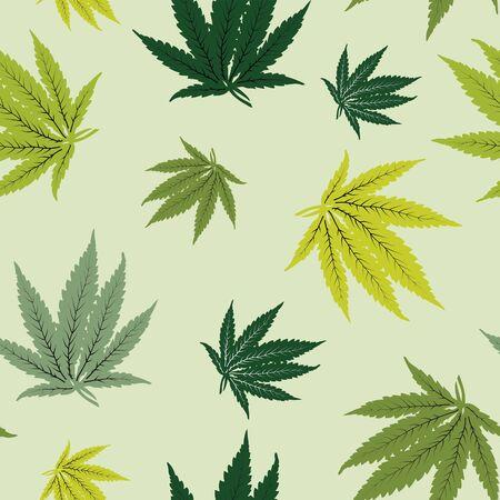 Vector green cannabis leaf seamless pattern