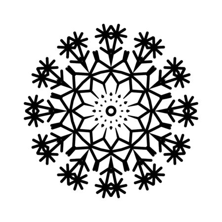 Black snowflake isolated on white background Banque d'images - 132244908
