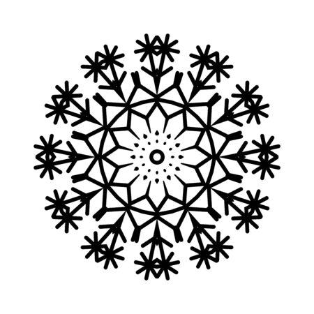 Black snowflake isolated on white background