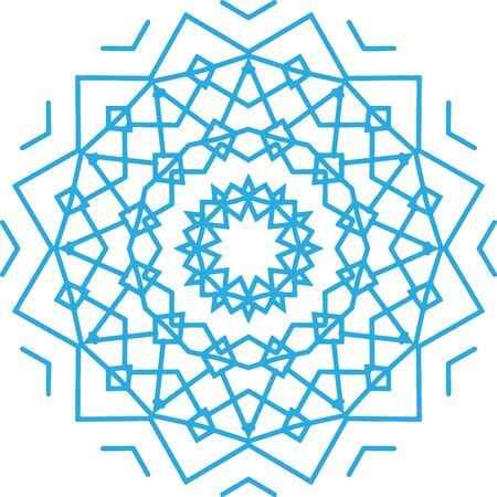 Blue abstract vector snowflake pattern