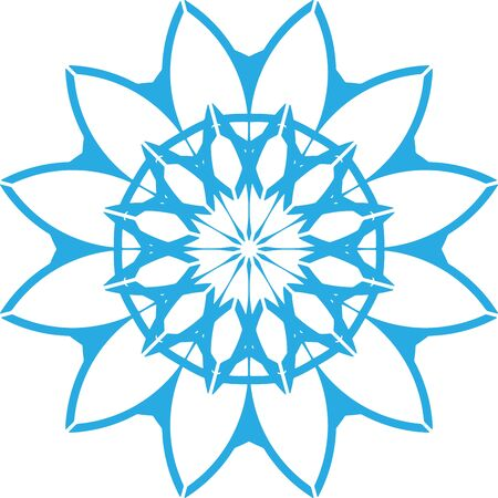 Blue geometric snowflake icon