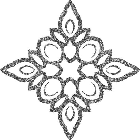 Stipple black vector floral ornament