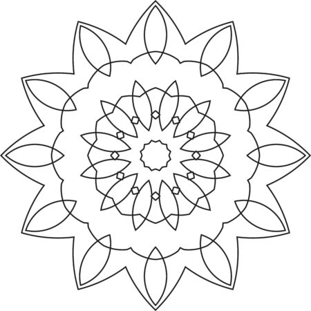 Black coloring vector flower mandala pattern