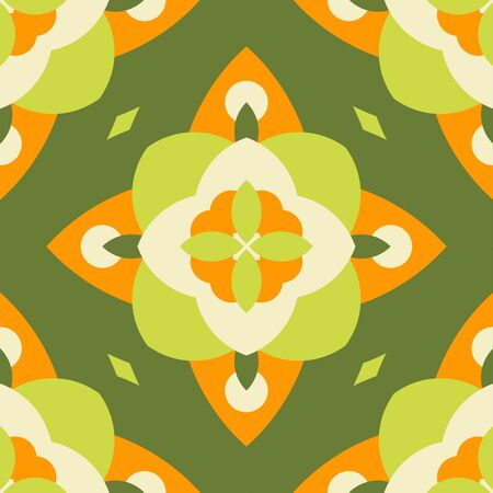 Green bloom vector seamless pattern