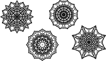 Set of 4 isolated mandala shapes