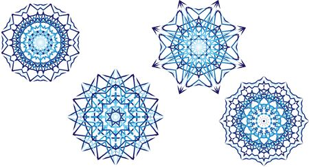 Set of 4 Blue Star Mandala Patterns Illusztráció