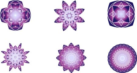 Set of 6 violet and white mandalas