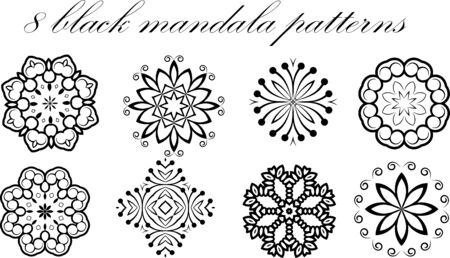 Set of 8 vector mandala patterns Illusztráció