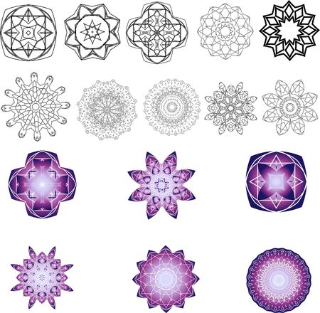 Set of 16 mandala isolated patterns