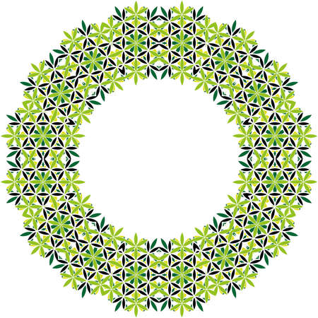 Green and black vector mandala frame