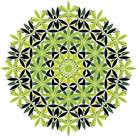 Green and black vector mandala icon