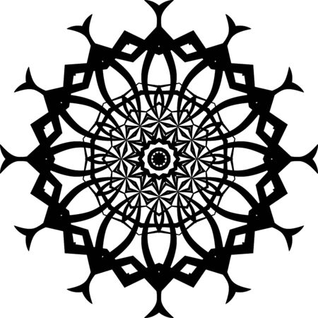 Black flower mandala icon isolated on white background