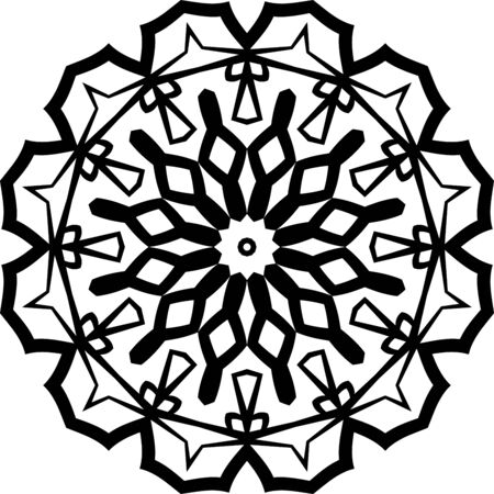 Black mandala icon isolated on white background Illusztráció