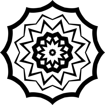 Black mandala icon on white background Illusztráció