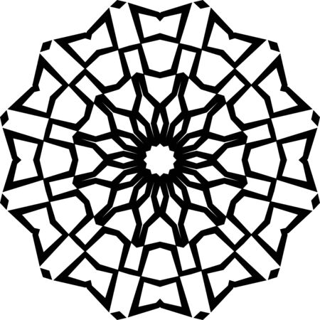 Black mandala simple ornament on white background