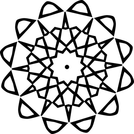 Black simple mandala icon isolated on white background