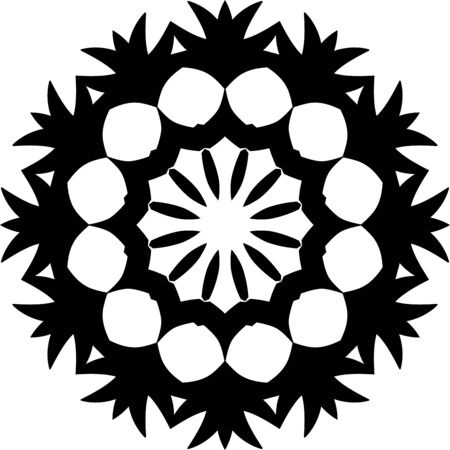 Black simple mandala icon on white background