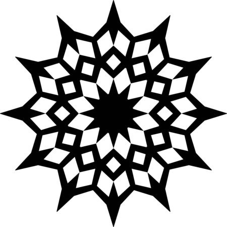 Black simple mandala ornament on white background