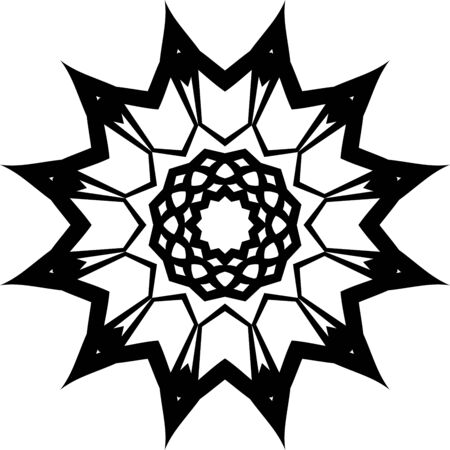 Simple black mandala ornament on white background
