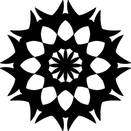 Simple bloom mandala icon on white background Illusztráció