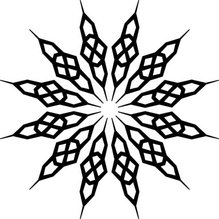Simple floral mandala ornament on white background