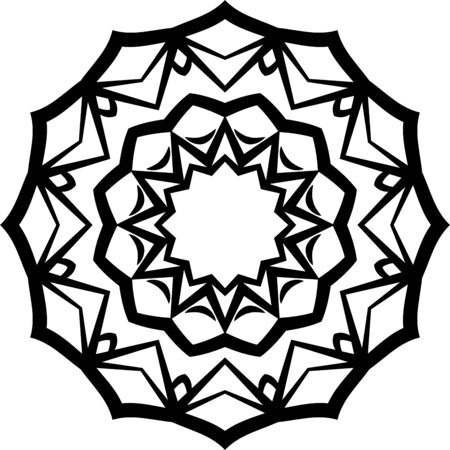 Simple flower mandala icon on white background