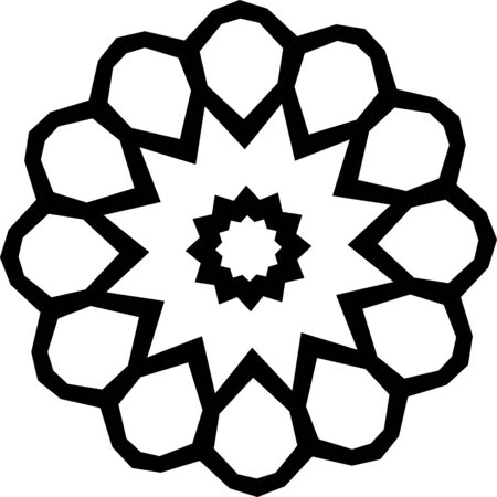 Simple flower mandala ornament on white background