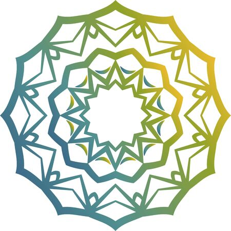 Blue and green simple mandala icon on white background Illusztráció