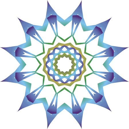 Colorful blue mandala icon on white background Illusztráció