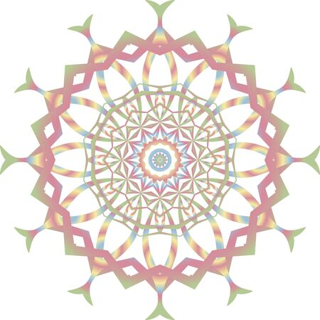 Colorful fractal mandala icon on white background