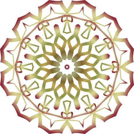 Colorful green mandala icon on white background