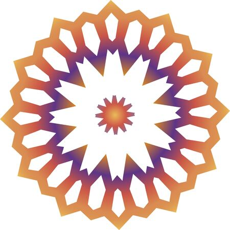 Colorful orange and violet mandala icon