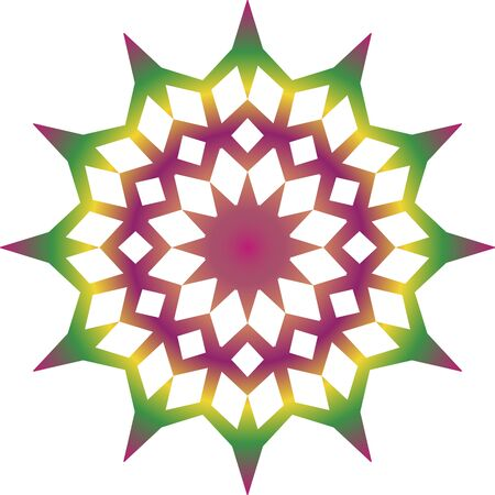 Colorful simple mandala icon on white background Illusztráció