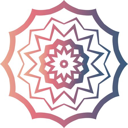 Color star mandala icon on white background