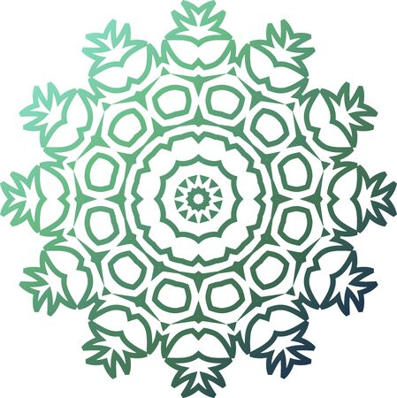 Green simple mandala icon on white background